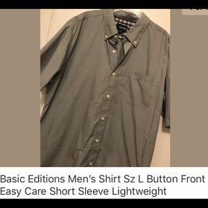 New Men's Caual ShortSleeve ButtonDown SzL